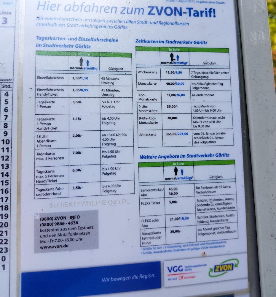 Goerlitz komunikacja miejska - ceny biletów