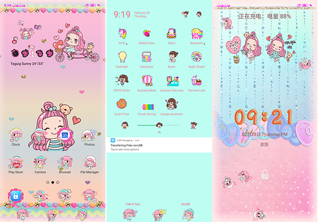 Oppo Theme: Oppo A3s Kawaii Girl Theme