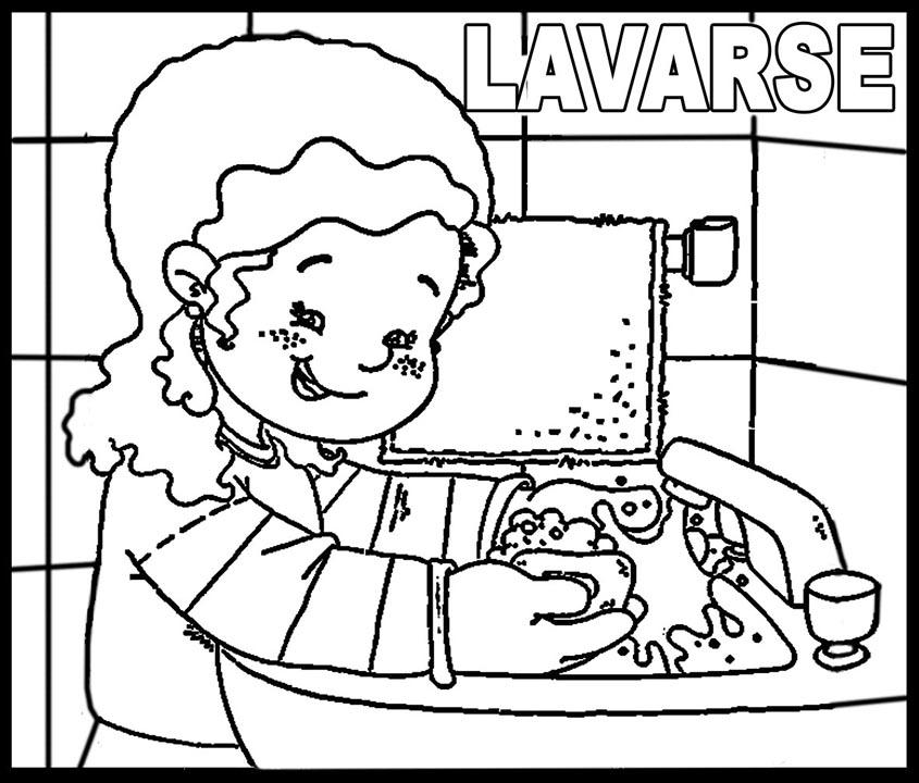 lavarse las manos colorear