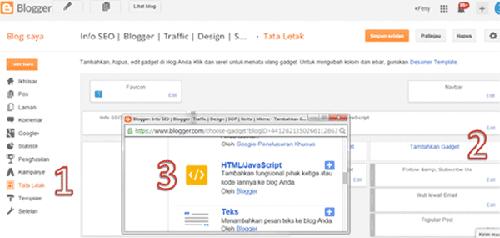 setting widget custom HTML5 di template