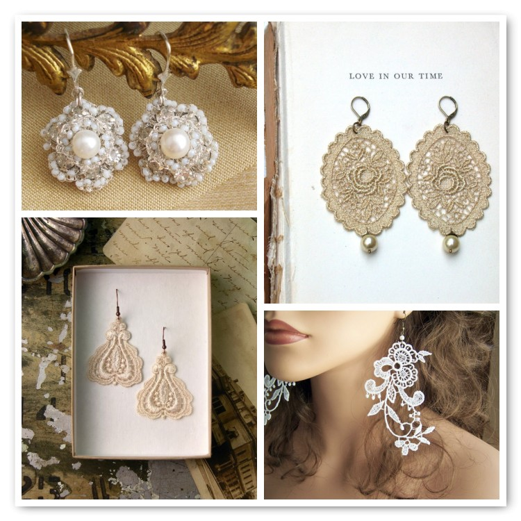 lace earrings on Etsy