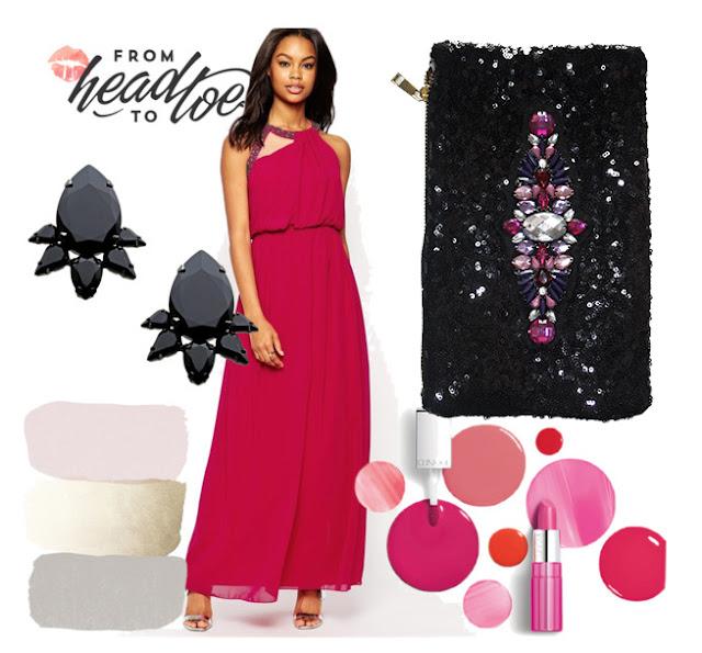 vestido largo fucsia con bolso de lentejuelas y pedreria