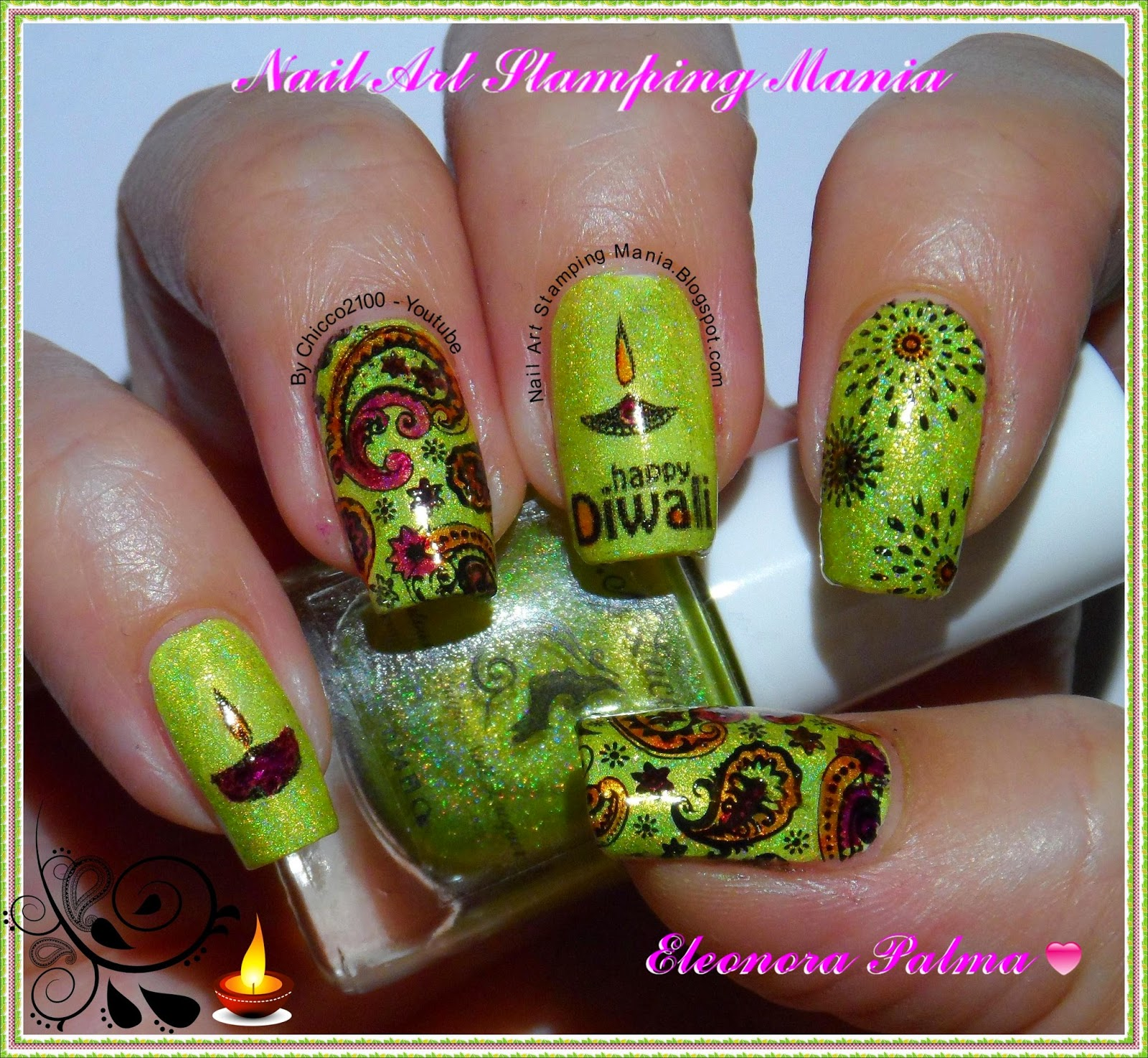 Nail Art Stamping Mania Diwali Festival Manicure With Konad And Vl Plates