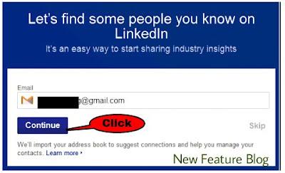 click continue - linkedin