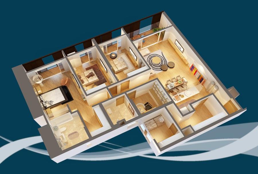 Thiết kế căn hộ CH4A - 198m2 Chung cư Dolphin Plaza