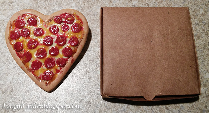 Heart-Shaped Pepperoni Pizza Brooch and box