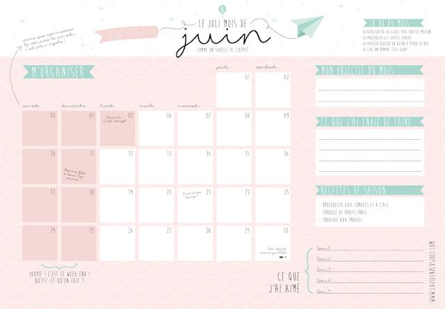 calendrier la vie en plus jolie juin 2017