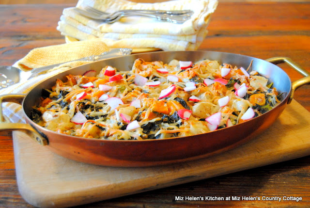 Roasted Butternut Gratin with Turnips and Greens at Miz Helen's Country Cottage