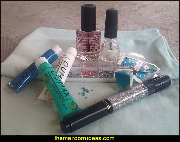 nail water decals - blue green floral nails - nail stickers - nail design ideas maries manor theme decorating