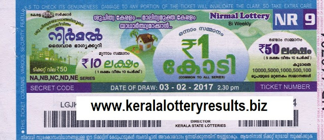 Kerala lottery result official copy of Nirmal (NR-18) on 19 MAY 2017