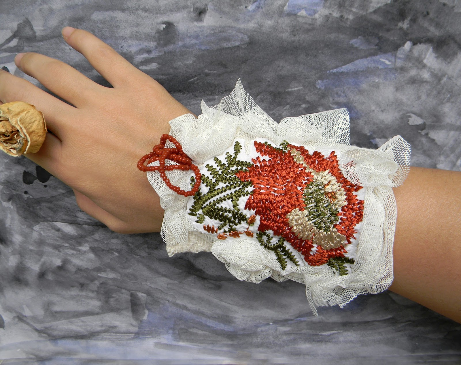 Unique Handcrafted Wrist Cuffs Textile Jewelry Shabby Bracelet