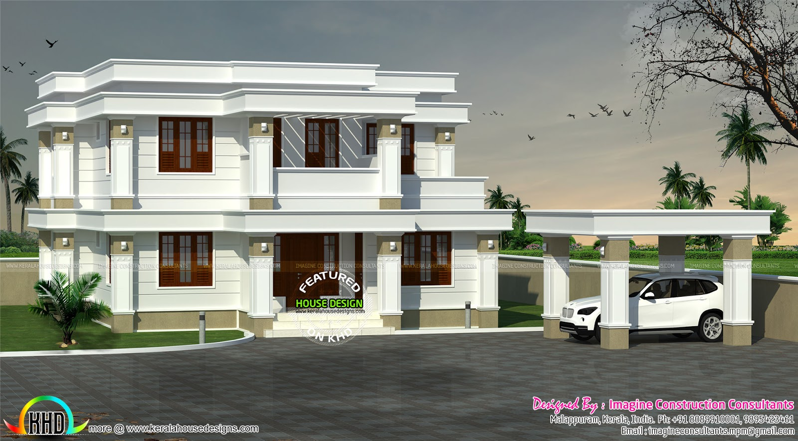 Decorative model flat roof home - Kerala home design and ...