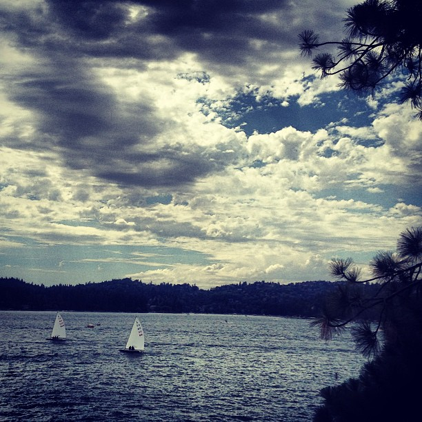 cloudy sky, sailboats on the lake