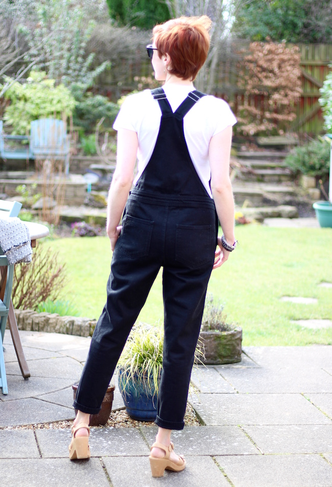 Fake Fabulous | Wearing dungarees, with tweed, over 40....rear view