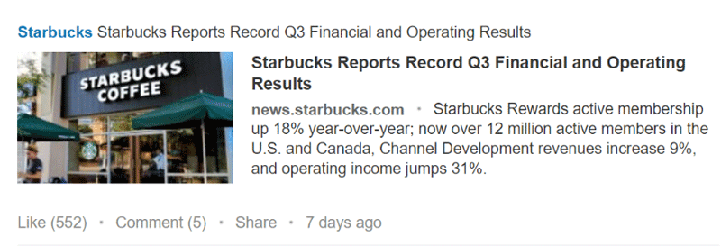 Starbucks LinkedIn Post Example