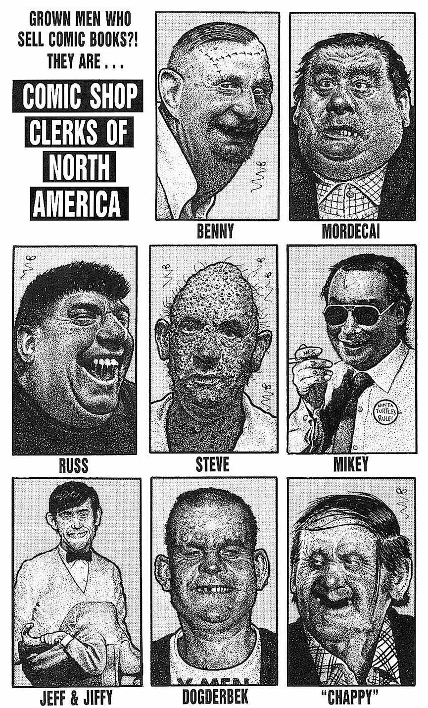 Drew Friedman's comic shop clerks of North America