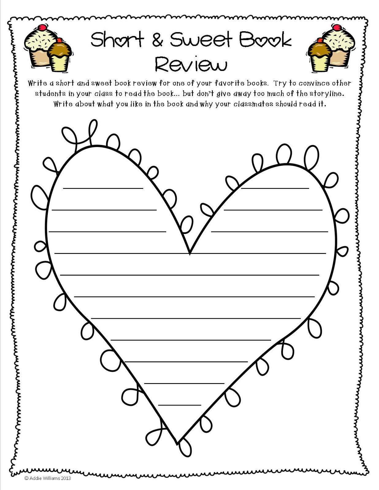 Valentine\'s Day Book Review Activity - Addie Williams - Teacher Talk