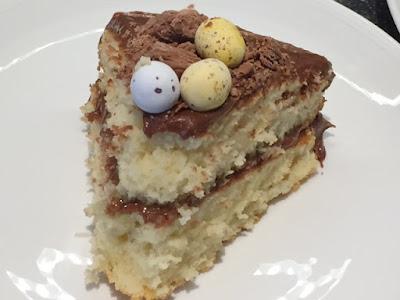 A slice of Chocolate Orange Easter Nest Cake