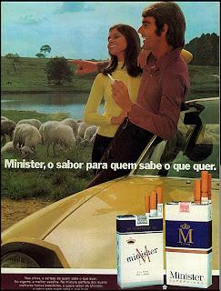 propaganda cigarros Minister - 1974.  propaganda anos 70; história decada de 70; reclame anos 70; propaganda cigarros anos 70; Brazil in the 70s; Oswaldo Hernandez;