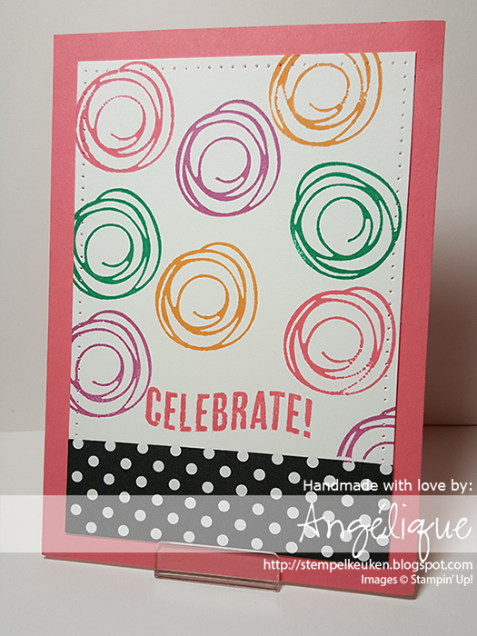 http://stempelkeuken.blogspot.com OnStage April 2016 Display Stamper de Stempelkeuken Swirly Bird, Party with Cake, Celebrate Today, Flirty Flamingo, Peekaboo Peach, Emerald Envy, Sweet Sugarplum, Archival Basic Black,