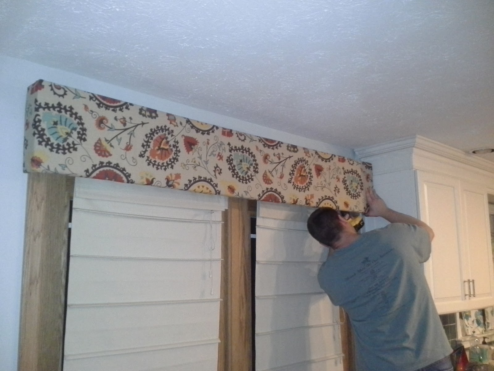 DIY with the Joneses: DIY Fabric Cornice Board over french ...