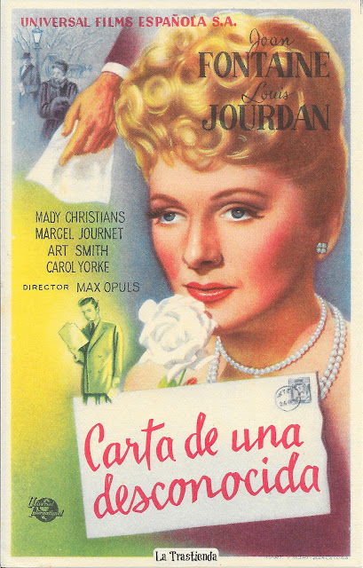 Carta de una Desconocida - Programa de Cine - Joan Fontaine - Louis Jourdan