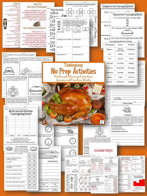 "Sometimes You Just Need Something Quick! This post includes a Thanksgiving No Prep Freebie as well as other ""quick"" resources with a Thanksgiving Theme."