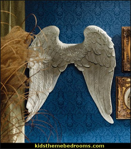 Heavenly Guardian Angel Wings Wall Sculpture  mythology theme bedrooms - greek theme room - roman theme rooms - angelic heavenly realm theme decorating ideas - Greek Mythology Decorations -  angel wall lights - angel wings decor - angel theme bedroom ideas - greek mythology decorating ideas - Ancient Greek Corinthian Column - Spartan Warrior Gladiators - Greek gods - Angel themed baby room - angel decor - cloud murals - heaven murals - angel murals ethereal - greek key pattern - cupid theme bedrooms - cherub throw pillows - greek roman decor  - Column Wall Sculpture -  French Provincial furniture