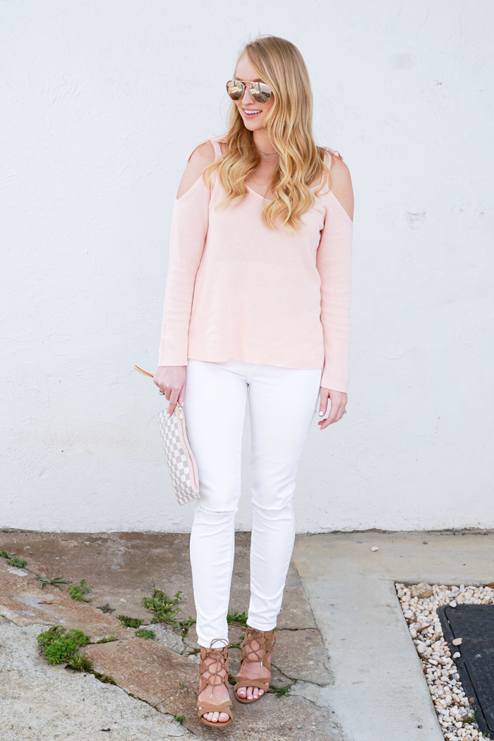 loft cold shoulder sweater, spring sweater, affordable cold shoulder sweater, strawberry chic