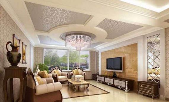 Plafon Gypsum Ruang Tamu Mewah