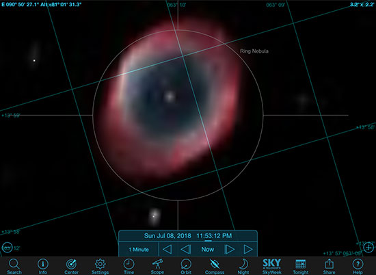 Sky Safari Pro Screenshot of M57 with approximate 3 x 2 arc minute field of view (Source: Palmia Observatory)