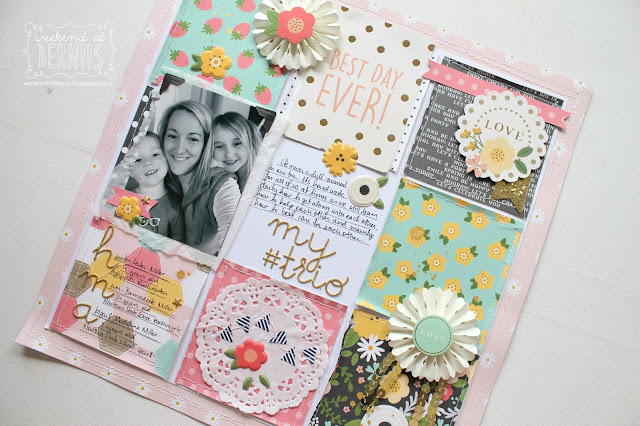 """ My Trio"" layout for Scrapping Clearly using Pebbles Spring Fling collection."