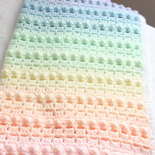 Rainbow Popcorn Baby Blanket - Crochet Pattern