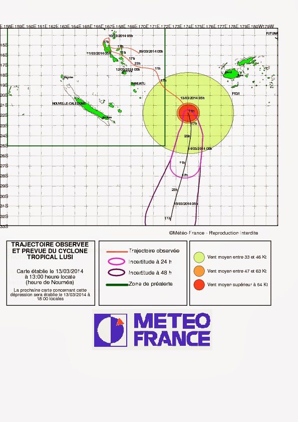 Trajectoire du cyclone tropical Lusi