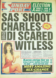 Photo of Karen Wileman on the front page of the Sunday Sport newspaper dated 19th April 87