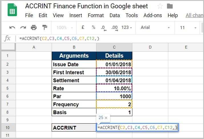 ACCRINT Finance Function in Google Sheet - My Finteche