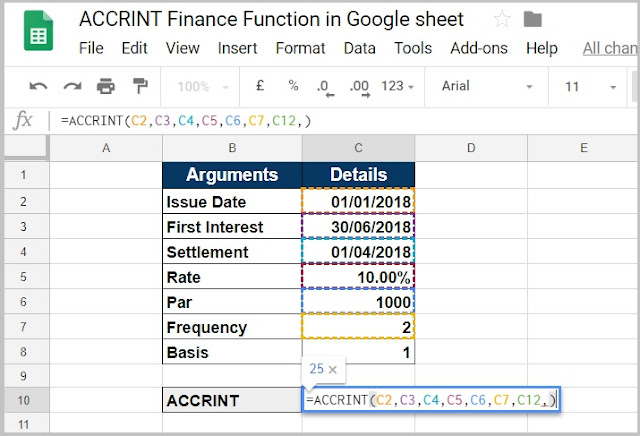 ACCRINT Finance Function