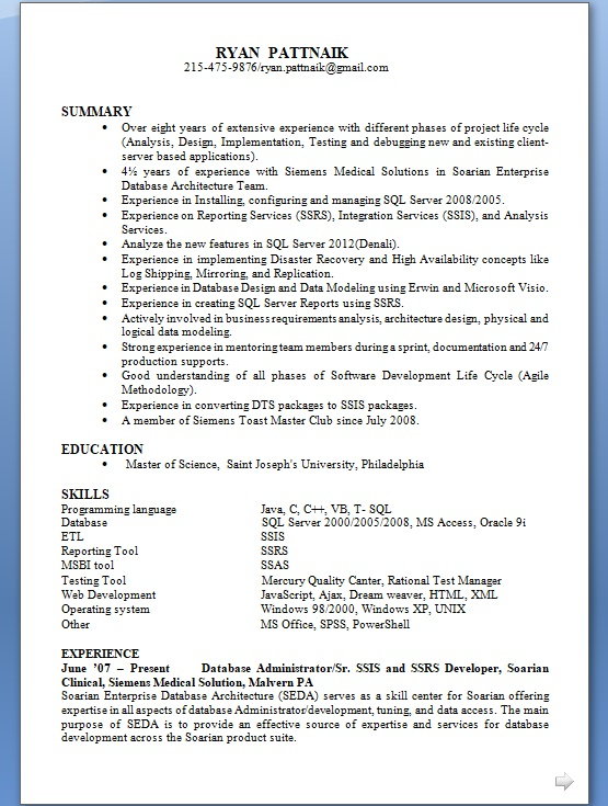 Present Database Administrator Sample Resume Format in Word Free - ssrs sample resume
