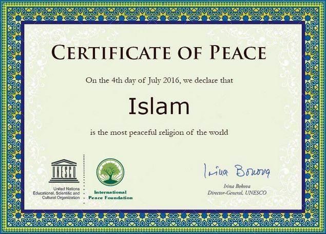 UNESCO Nyatakan Islam Sebagai Agama Yang Paling Damai Di Dunia
