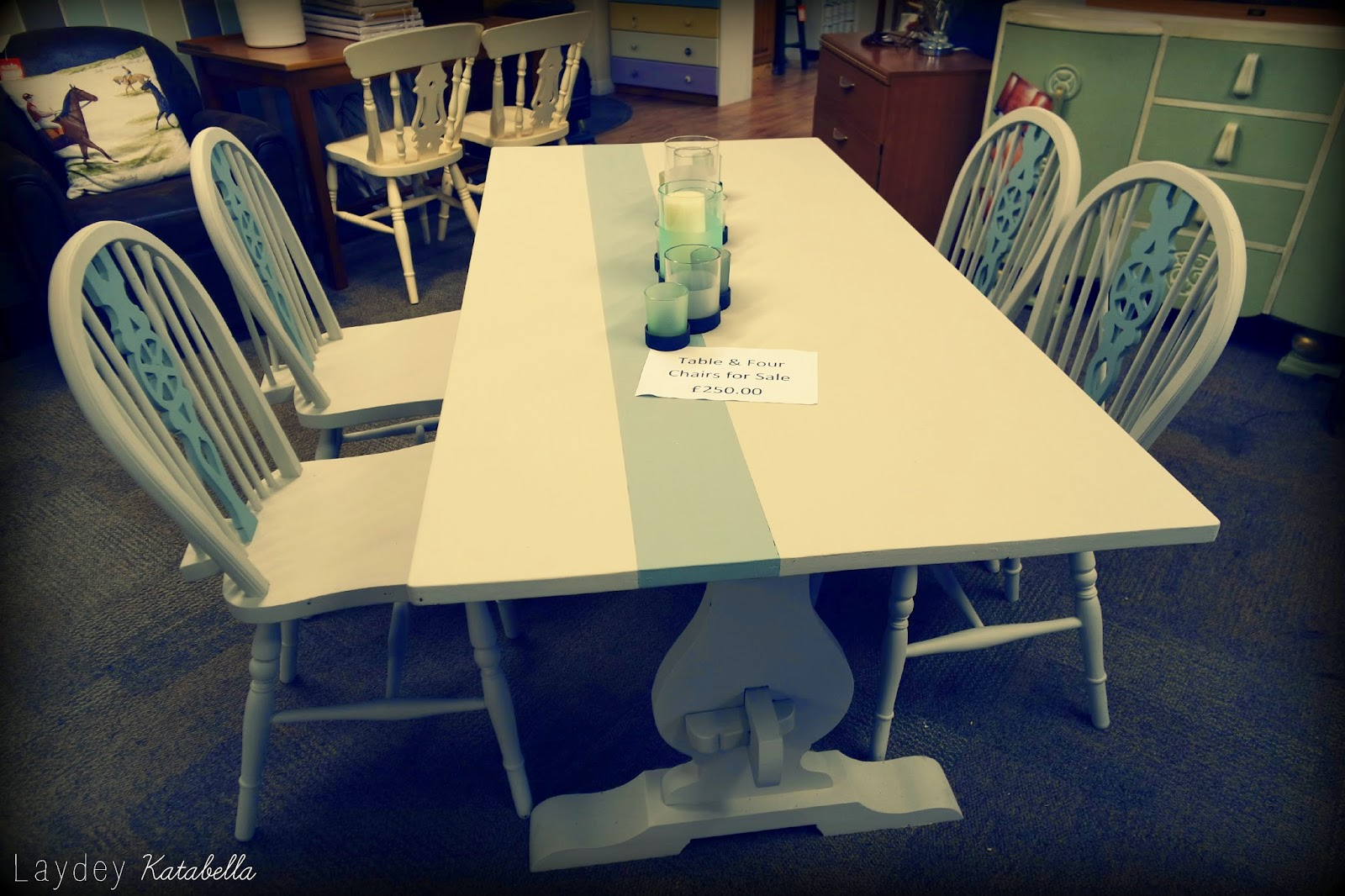 photo of bespoke upcycled dining table and chairs