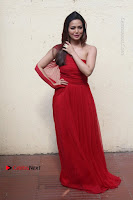 Actress Sana Khan Latest Pos in Georgius Spicy Red Long Dress at the Interview  0007.jpg