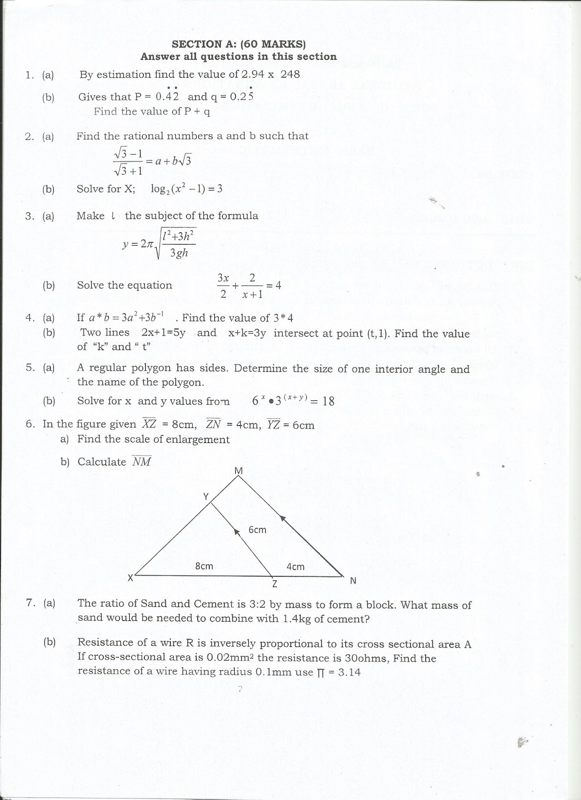 MWL JAPHET MASATU BLOG: BASIC MATHEMATICS--FORM THREE ANNUAL