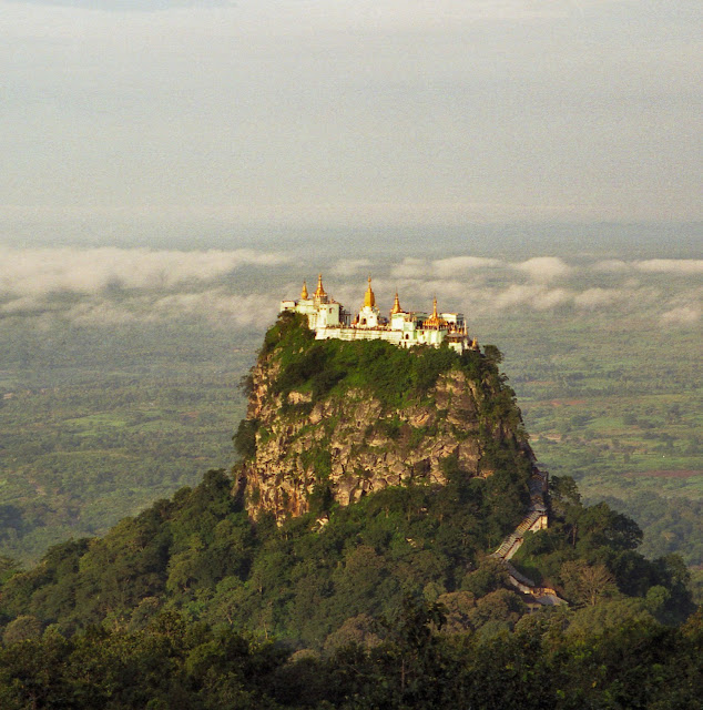 The Buddhist Monastery of Taung Kalat perched on top of Mount Popa in Myanmar (Burma).