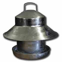 Galvanised feeders for chickens