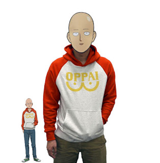 One Punch Man - Hero Saitama Oppai Hoodie Cosplay Costume.