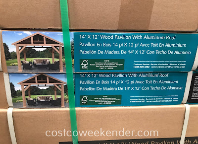 Costco 1185048 - Yardistry Cedar Wood Pavilion with Aluminum Roof: outdoor entertaining has never been so relaxing