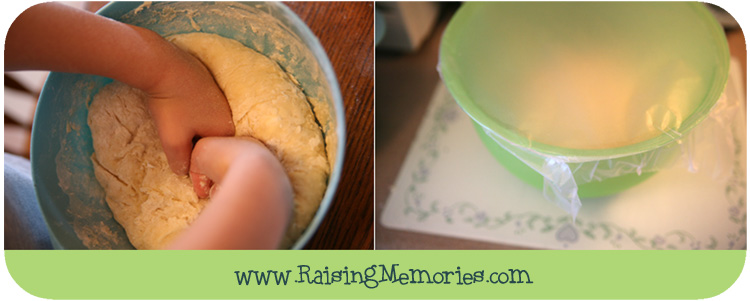 Kneading and Rising Dough for Cinnamon Rolls by www.RaisingMemories.com
