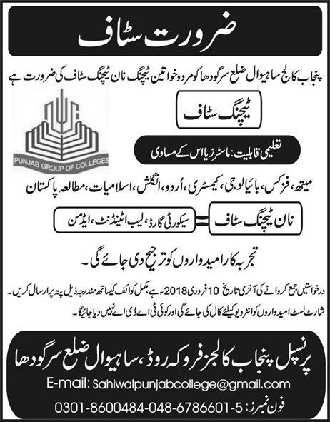 Latest Jobs in Punjab Group of Colleges Sahiwal District Sargodha