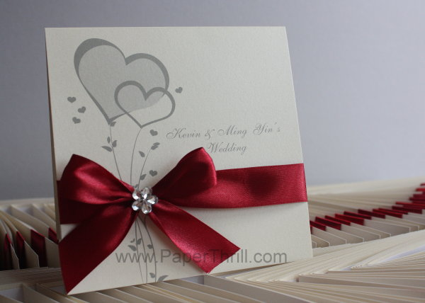 Heart Wedding Invitations Uk: Ming Yin's Double Hearts Wedding Invitation