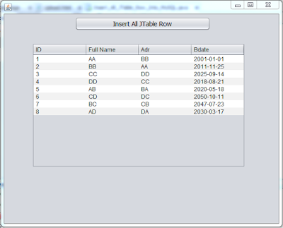 java add jtable data to mysql